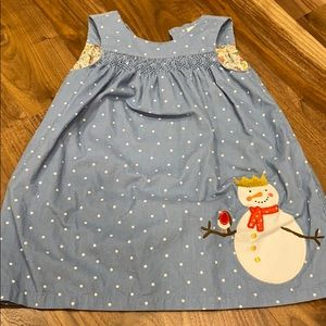 Like new 3-4 baby Boden snowman pinnie